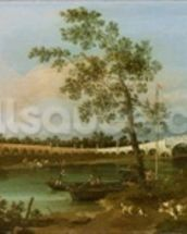 Old Waltons Bridge, 1755 (oil on canvas) wallpaper mural thumbnail