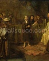 The Twelve Year Old Jesus in front of the Scribes, c.1655 (oil on canvas) wall mural thumbnail