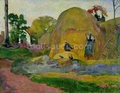 Yellow Haystacks, or Golden Harvest, 1889 (oil on canvas) wallpaper mural thumbnail