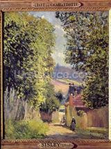 A Road in Louveciennes, 1883 (oil on canvas) wallpaper mural thumbnail