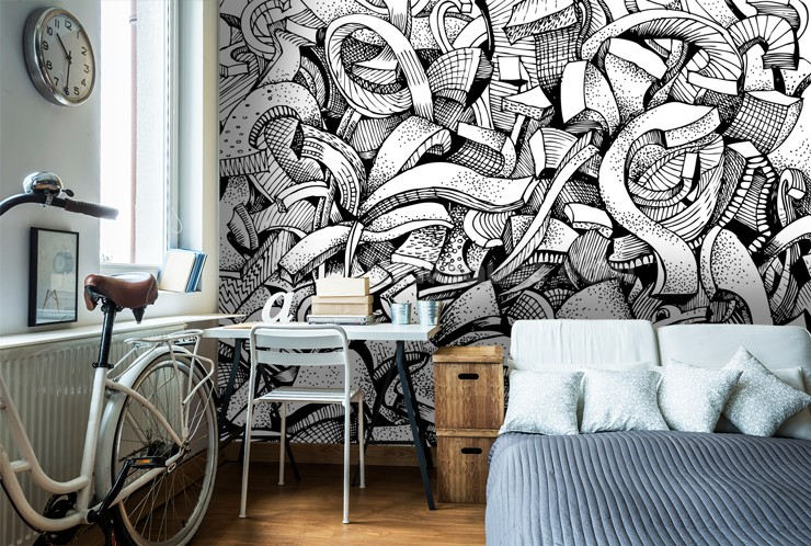 Black-and-white-graffiti-wallpaper-in-boys-bedroom