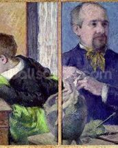 Portrait of Jean Paul Aube (1837-1916) and his son (pastel) mural wallpaper thumbnail