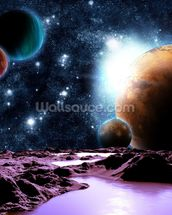 Abstract Planets with Water mural wallpaper thumbnail