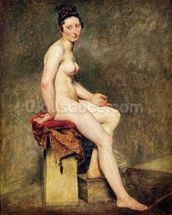 Seated Nude, Mademoiselle Rose (oil on canvas) wallpaper mural thumbnail