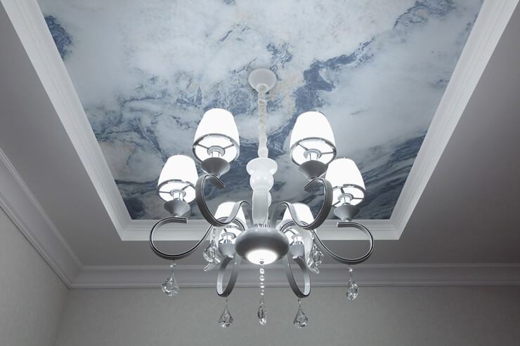 blue and white marble effect wallpaper on ceiling