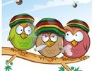Jamaican Owls Angry Birds Style wall mural thumbnail