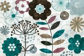 Floral Pop Turquoise mural wallpaper thumbnail