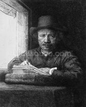 Self portrait while drawing, 1648 (etching) (b/w photo) mural wallpaper thumbnail
