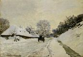 The Cart, or Road under Snow at Honfleur, 1865 (oil on canvas) wall mural thumbnail