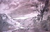 On the Dove near Buxton, 1801 (pencil and sepia wash) wallpaper mural thumbnail