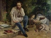 Pierre Joseph Proudhon (1809-65) and his children in 1853, 1865 (oil on canvas) (see 99577 for detail) wallpaper mural thumbnail