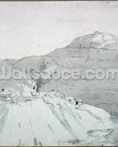 A Lead Mine at the Foot of Mam Tor (watercolour) mural wallpaper thumbnail