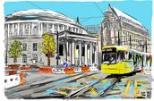 Central Library with Tram wallpaper mural thumbnail