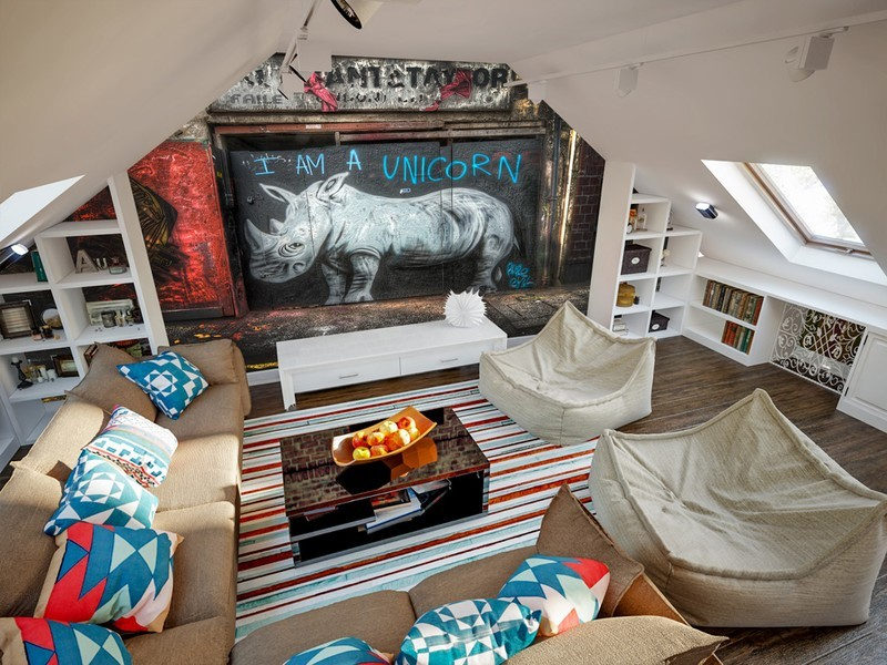 graffiti rhino mural in attic
