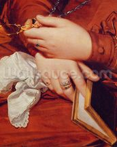 Portrait of Madame Marcotte, detail of her hands, 1826 (oil on canvas) (detail of 83538) wallpaper mural thumbnail