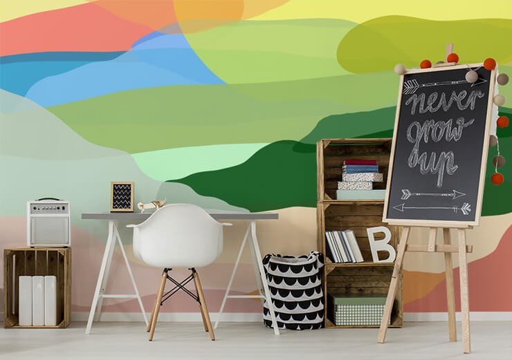 green, terracotta and blue abstract landscape wallpaper in large home office/home school