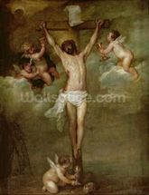 Christ attended by angels holding chalices (oil on canvas) wall mural thumbnail