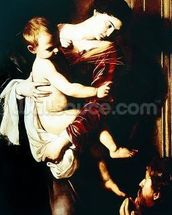 Detail of Madonna of the Pilgrims, c.1603-05 (oil on canvas) mural wallpaper thumbnail