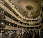 The Auditorium of the Old Castle Theatre, 1888 (oil on canvas) wallpaper mural thumbnail