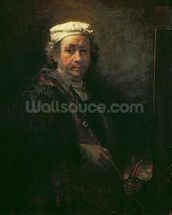 Portrait of the Artist at his Easel, 1660 (oil on canvas) wall mural thumbnail
