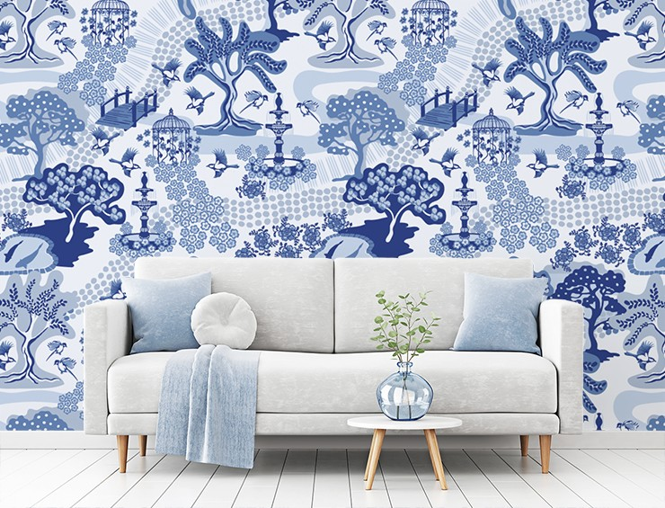 blue and white willow tree oriental pattern in blue and grey modern lounge