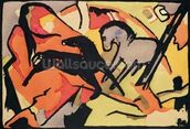 Two Horses, 1911/12 (indian ink and w/c on paper) mural wallpaper thumbnail