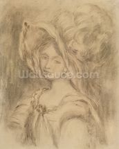 Mme Dieterle in a Hat, c.1896 (charcoal on paper) mural wallpaper thumbnail