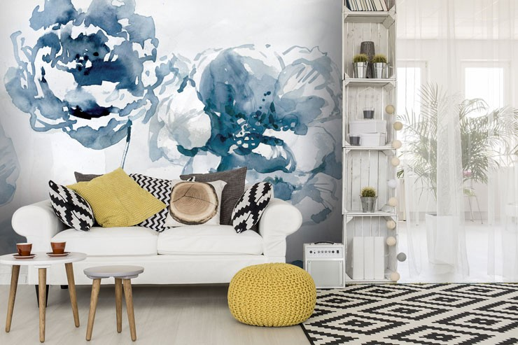 navy blue watercolour flowers wallpaper in mustard and blue living room