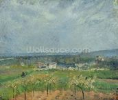 Landscape in Pontoise, 1877 (oil on canvas) wallpaper mural thumbnail