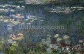 Waterlilies: Green Reflections, 1914-18 (left section) (oil on canvas) wallpaper mural thumbnail