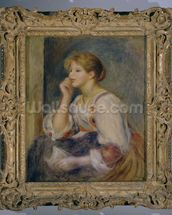 Woman with a letter, c.1890 (oil on canvas) mural wallpaper thumbnail