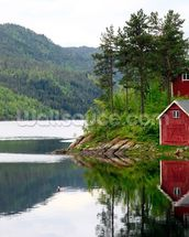 Red House on the Lake mural wallpaper thumbnail
