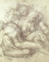 Figures Study for the Lamentation Over the Dead Christ, 1530 (black chalk on paper) wallpaper mural thumbnail