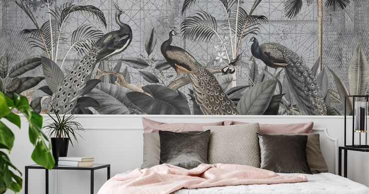 vintage illustrated grey peacock wallpaper in beautiful white, pink and grey master bedroom