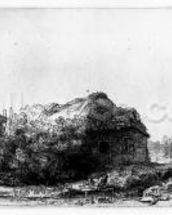 Landscape with a Cottage and Haybarn, etched by James Bretherton (etching) wallpaper mural thumbnail
