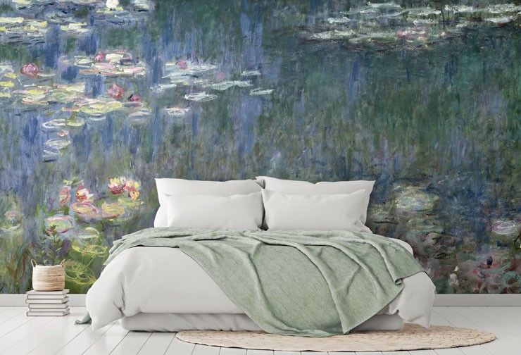 monet painting of pond wallpaper in calming master bedroom