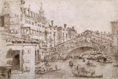 The Rialto Bridge, Venice (pen & brown ink on paper) wall mural thumbnail