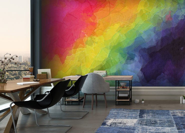 rainbow abstract wallpaper in modern office
