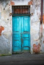 Old Blue Wooden Door mural wallpaper thumbnail