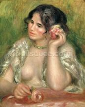 Gabrielle with a Rose, 1911 (oil on canvas) wall mural thumbnail