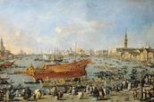 Departure of the Bucentaur for the Lido on Ascension Day, 1766-70 (oil on canvas) mural wallpaper thumbnail