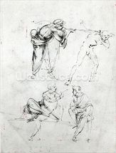 Study of a man blowing a trumpet in anothers ear, and two figures in conversation, c.1480-82 (pen and ink on paper) wall mural thumbnail