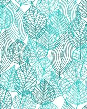 Turquoise Blue Autumn Leaves wallpaper mural thumbnail