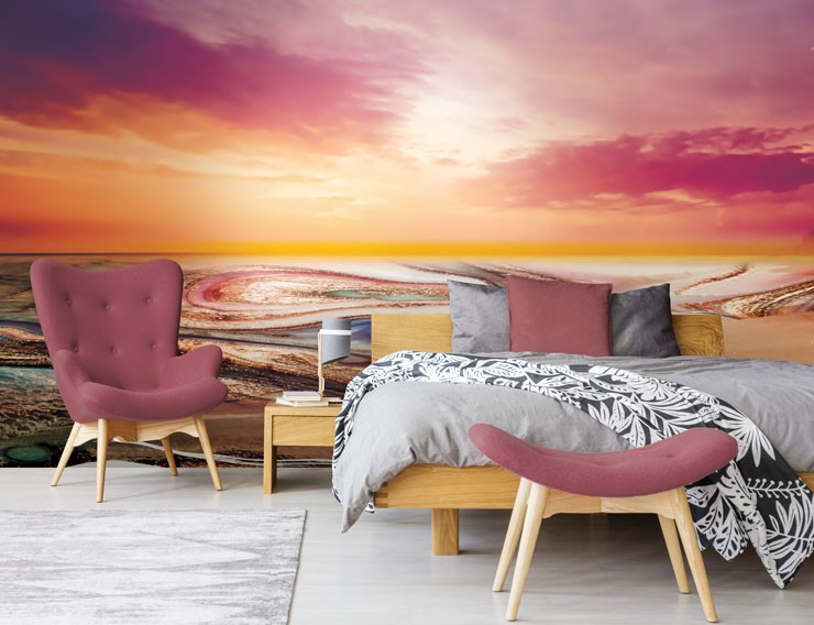 pink and orange sunset wallpaper in pink decor bedroom