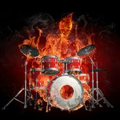 Drummer on Fire wallpaper mural thumbnail