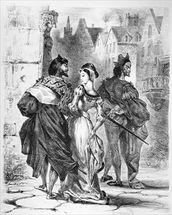 Faust meeting Marguerite, from Goethes Faust, after 1828, (illustration), (b/w photo of lithograph) mural wallpaper thumbnail