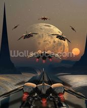 Alien Planet and Space Ships wall mural thumbnail