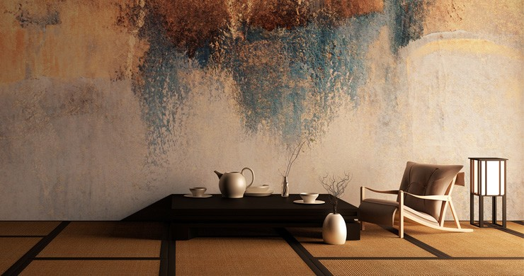 japanese low table and chair with tatami mats and raw art wallpaper