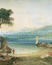Lake Geneva and Mont Blanc, 1802-5 (w/c with scraping out, pen and ink on wove paper) wall mural thumbnail