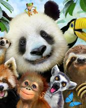 Zoo Selfie wallpaper mural thumbnail